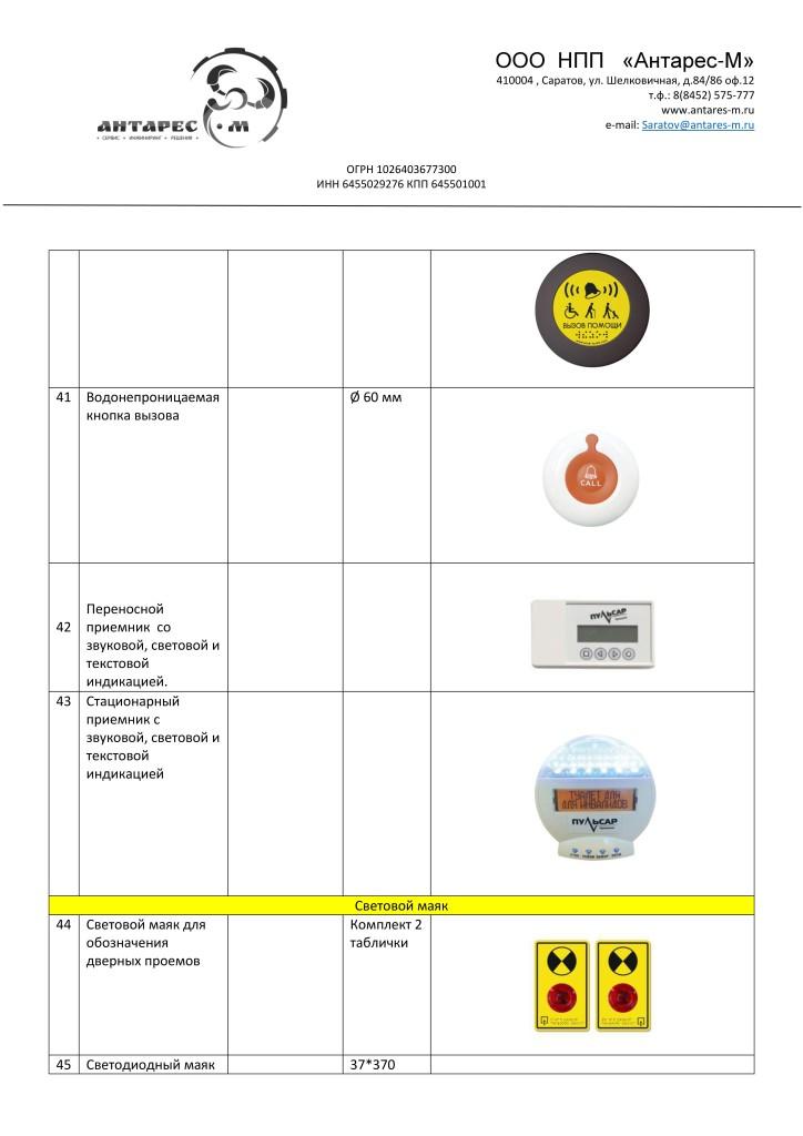 Каталог продукции для адаптации по программе Доступная среда таблица
